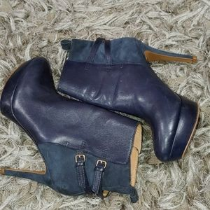 Zara Woman- Navy Blue- Faux Leather/Suede